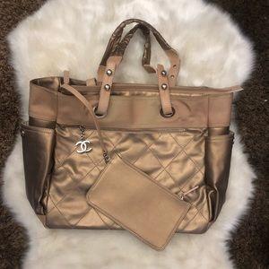 Chanel Paris Biarritz Gold Hand Bag Shoulder Bag